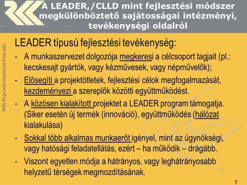 LEADER típusú fejlesztési tevékenység: