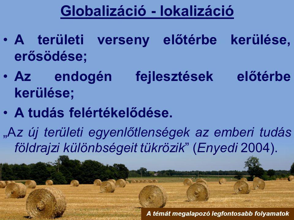 Globalizáció - lokalizáció A témát megalapozó legfontosabb folyamatok