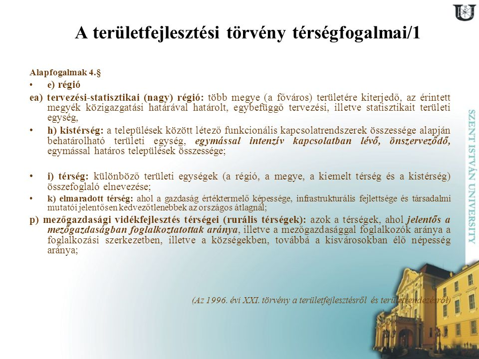 A területfejlesztési törvény térségfogalmai/1