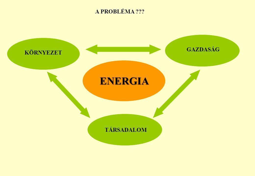 A PROBLÉMA GAZDASÁG KÖRNYEZET ENERGIA TÁRSADALOM