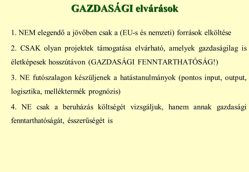GAZDASÁGI elvárások 1. NEM elegendő a jövőben csak a (EU-s és nemzeti) források elköltése.