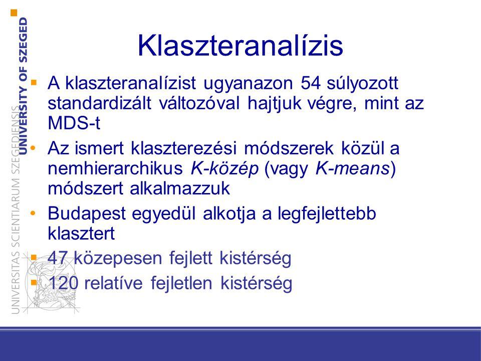 Klaszteranalízis A klaszteranalízist ugyanazon 54 súlyozott standardizált változóval hajtjuk végre, mint az MDS-t.