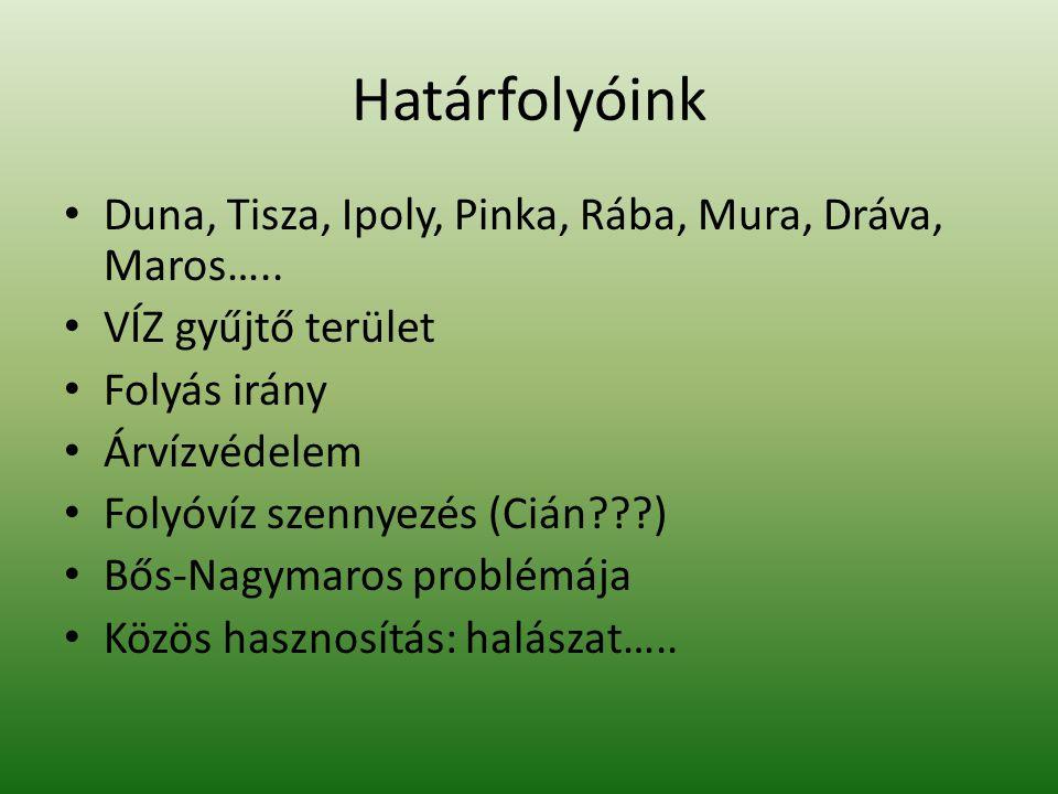 Határfolyóink Duna, Tisza, Ipoly, Pinka, Rába, Mura, Dráva, Maros…..