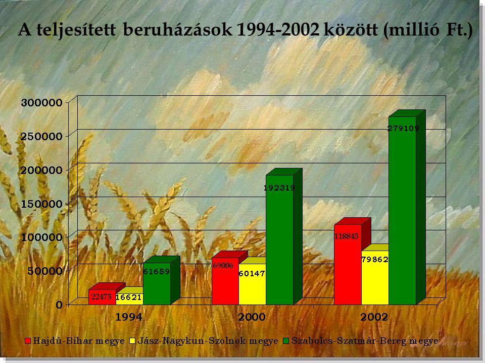 A teljesített beruházások 1994-2002 között (millió Ft.)