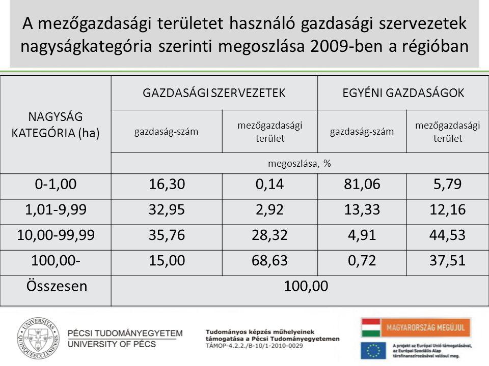 A mezőgazdasági területet használó gazdasági szervezetek nagyságkategória szerinti megoszlása 2009-ben a régióban