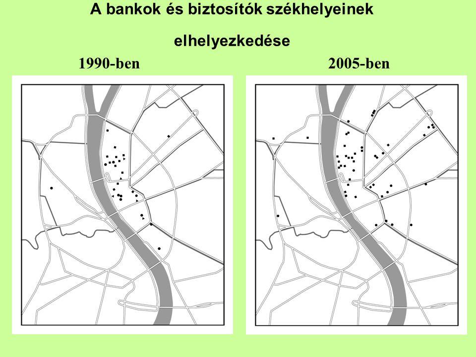 A bankok és biztosítók székhelyeinek elhelyezkedése