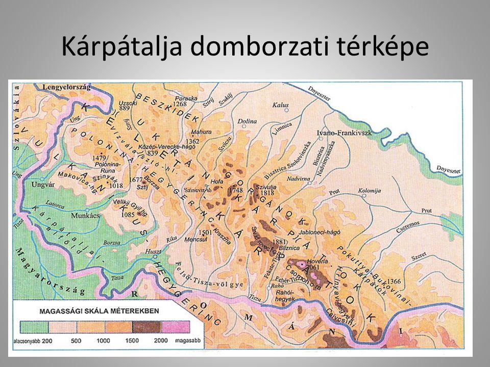 Kárpátalja domborzati térképe