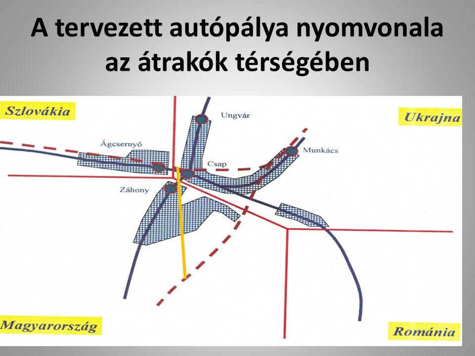 A tervezett autópálya nyomvonala az átrakók térségében