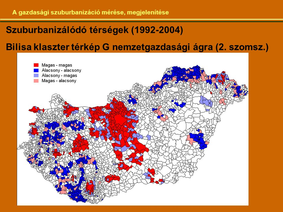 Szuburbanizálódó térségek (1992-2004)