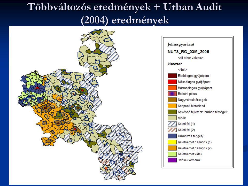 Többváltozós eredmények + Urban Audit (2004) eredmények