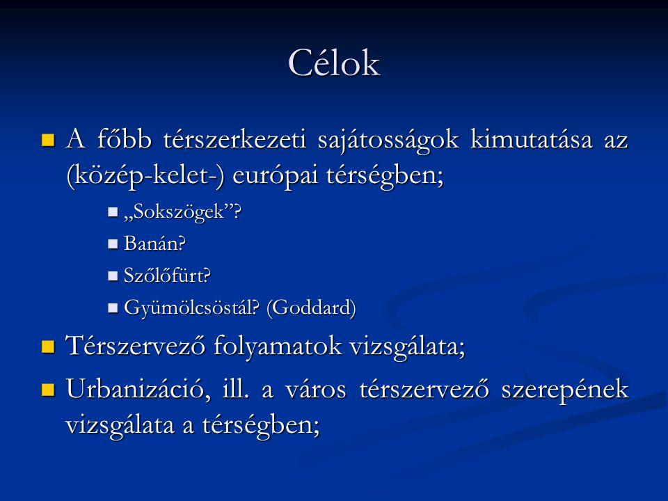 """Célok A főbb térszerkezeti sajátosságok kimutatása az (közép-kelet-) európai térségben; """"Sokszögek"""