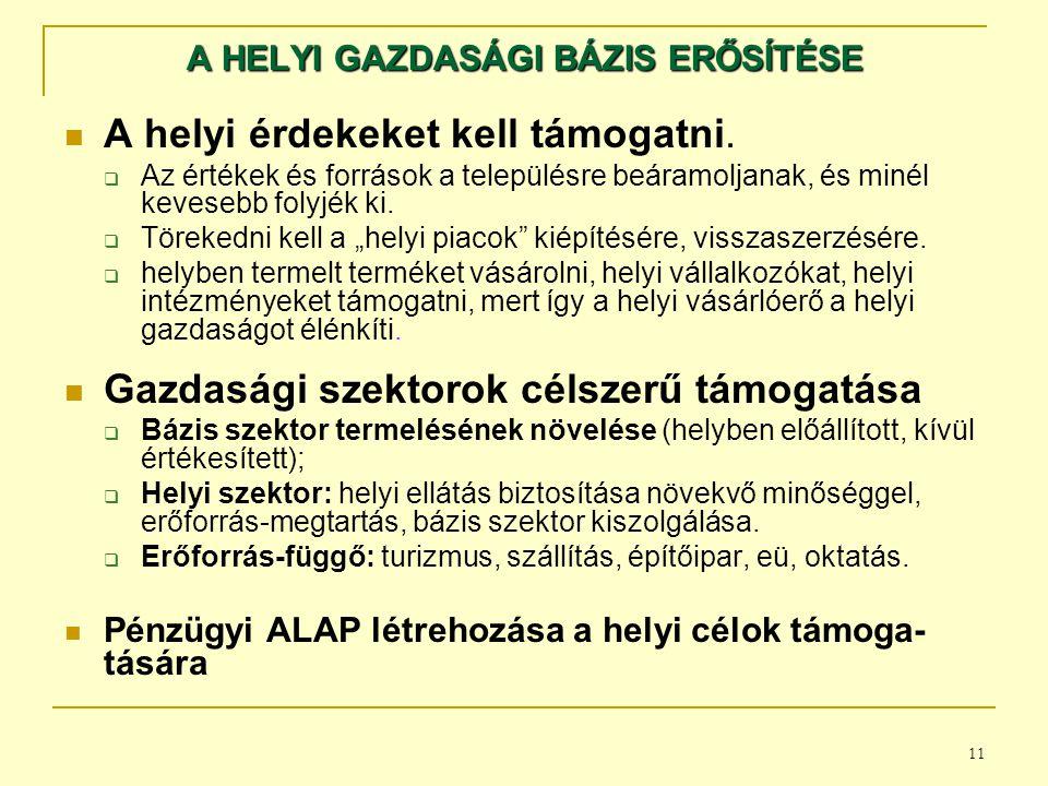 A HELYI GAZDASÁGI BÁZIS ERŐSÍTÉSE