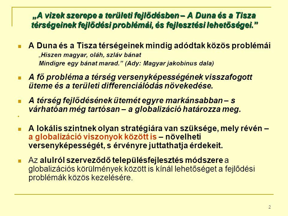 A Duna és a Tisza térségeinek mindig adódtak közös problémái