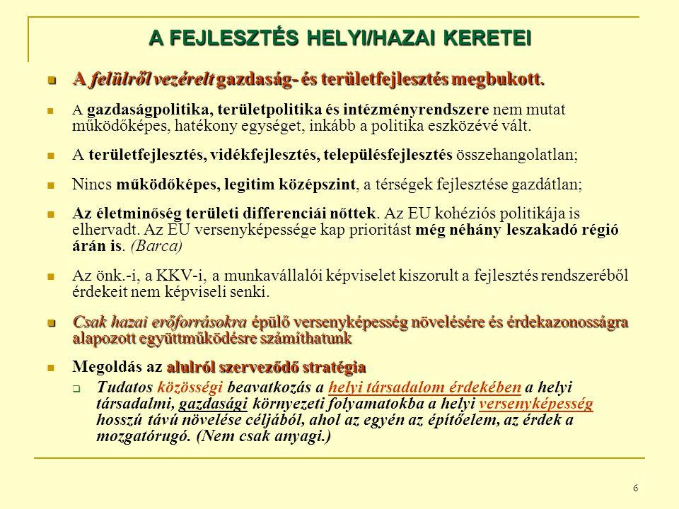 A FEJLESZTÉS HELYI/HAZAI KERETEI