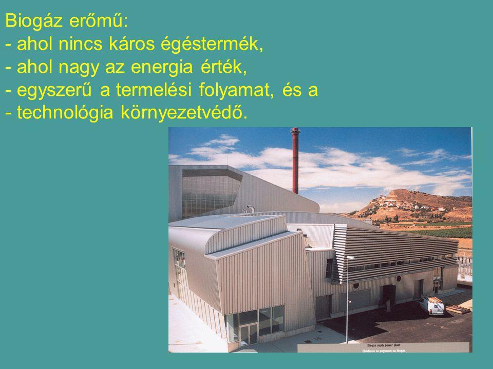 Biogáz erőmű: - ahol nincs káros égéstermék, - ahol nagy az energia érték, - egyszerű a termelési folyamat, és a - technológia környezetvédő.