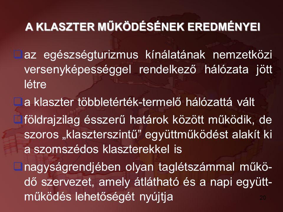 A KLASZTER MŰKÖDÉSÉNEK EREDMÉNYEI