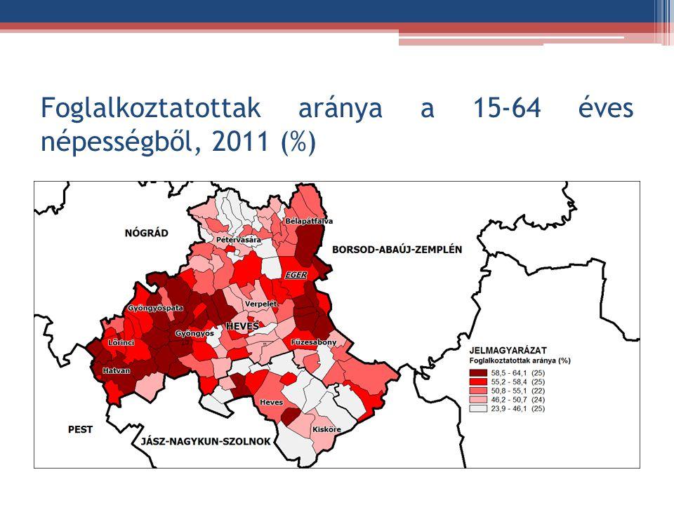 Foglalkoztatottak aránya a 15-64 éves népességből, 2011 (%)