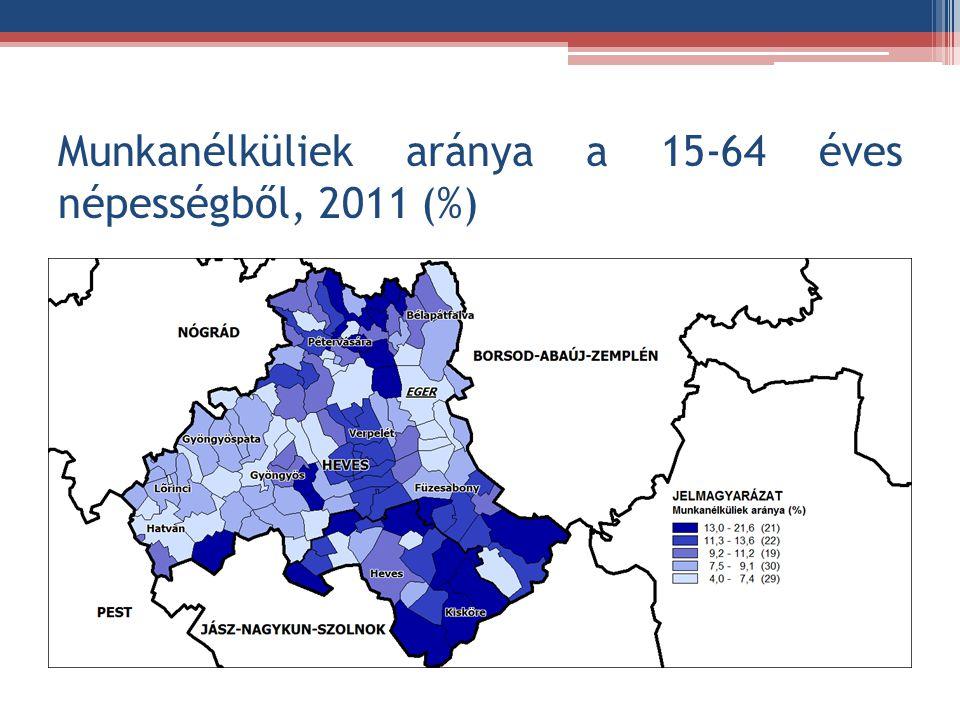 Munkanélküliek aránya a 15-64 éves népességből, 2011 (%)