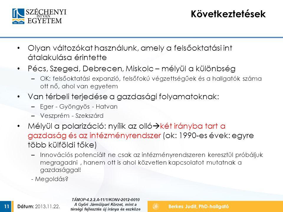 Következtetések Olyan változókat használunk, amely a felsőoktatási int átalakulása érintette. Pécs, Szeged, Debrecen, Miskolc – mélyül a különbség.