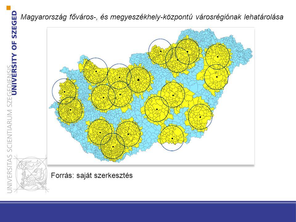 Magyarország főváros-, és megyeszékhely-központú városrégiónak lehatárolása