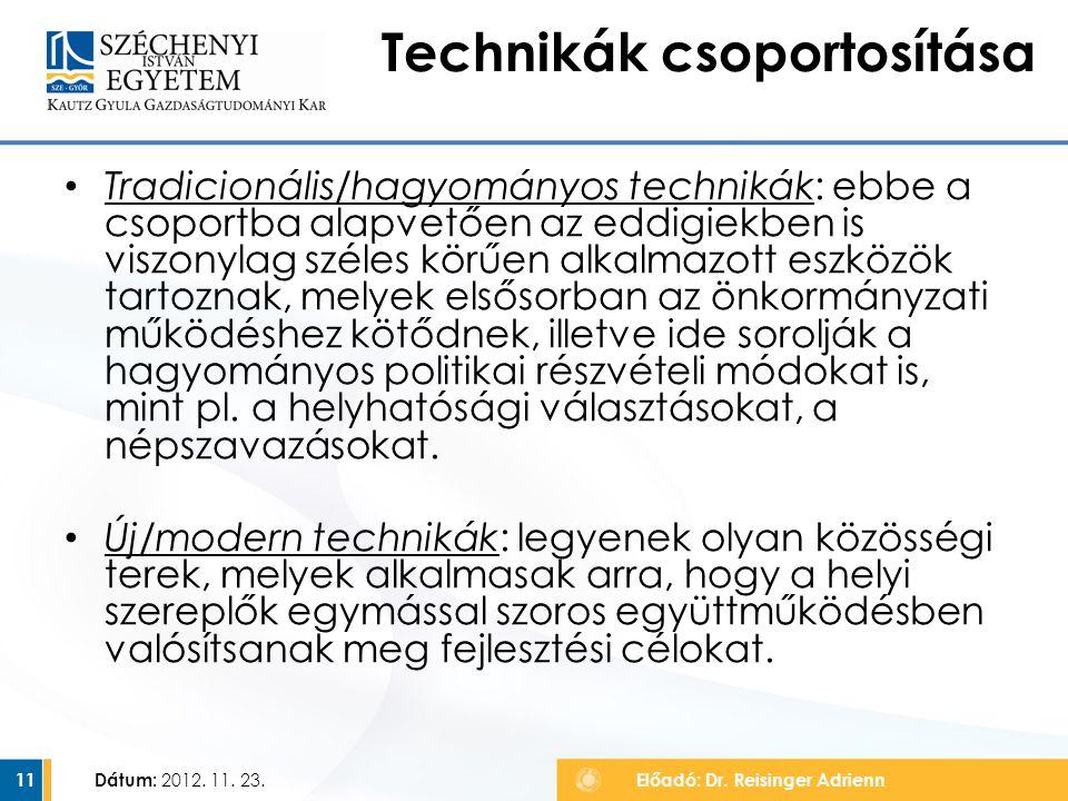 Technikák csoportosítása