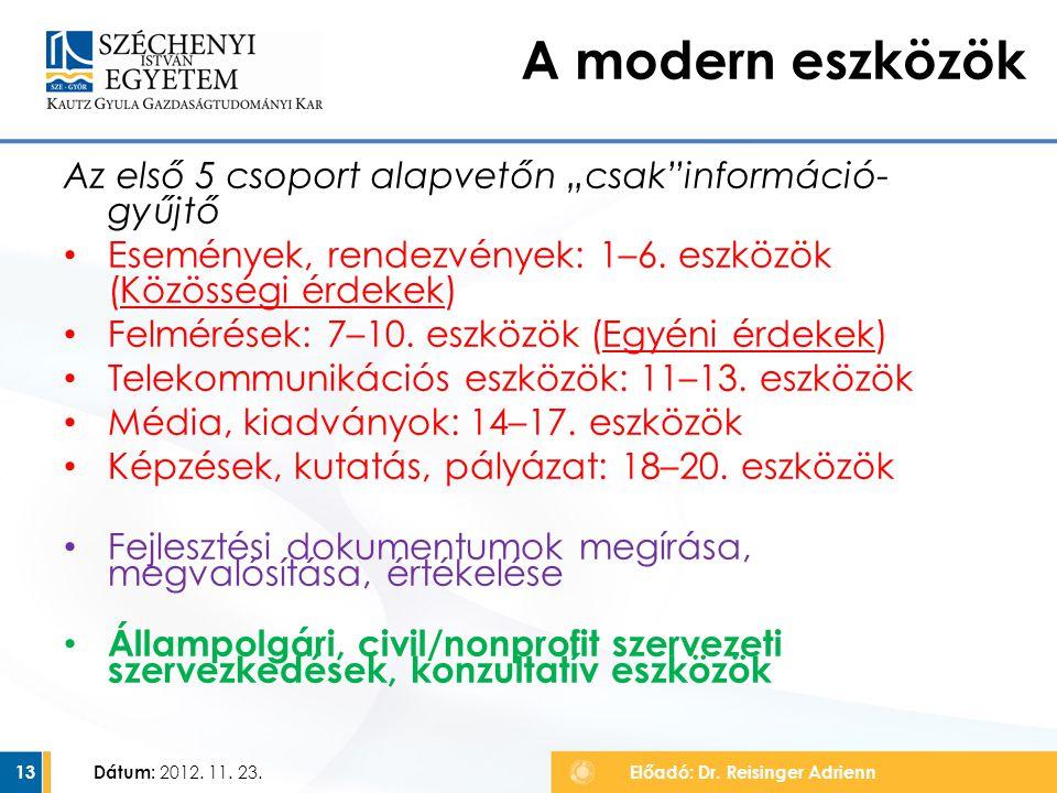 """A modern eszközök Az első 5 csoport alapvetőn """"csak információ-gyűjtő"""