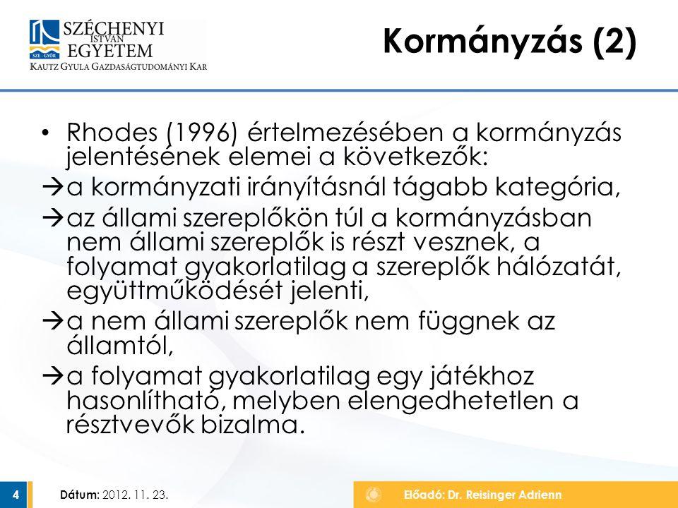Kormányzás (2) Rhodes (1996) értelmezésében a kormányzás jelentésének elemei a következők: a kormányzati irányításnál tágabb kategória,