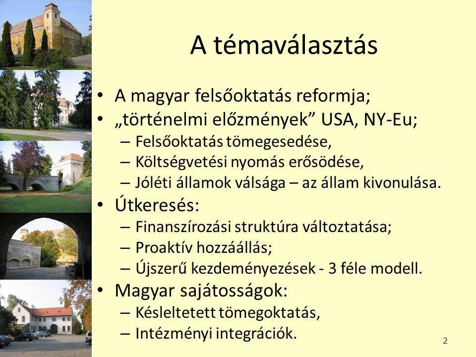 A témaválasztás A magyar felsőoktatás reformja;