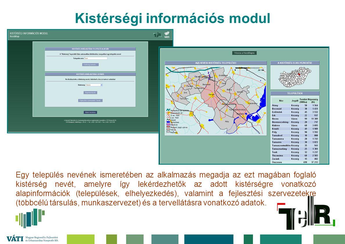 Kistérségi információs modul