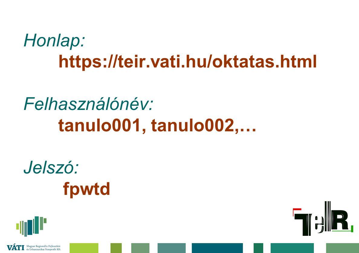 Honlap:. https://teir. vati. hu/oktatas. html Felhasználónév: