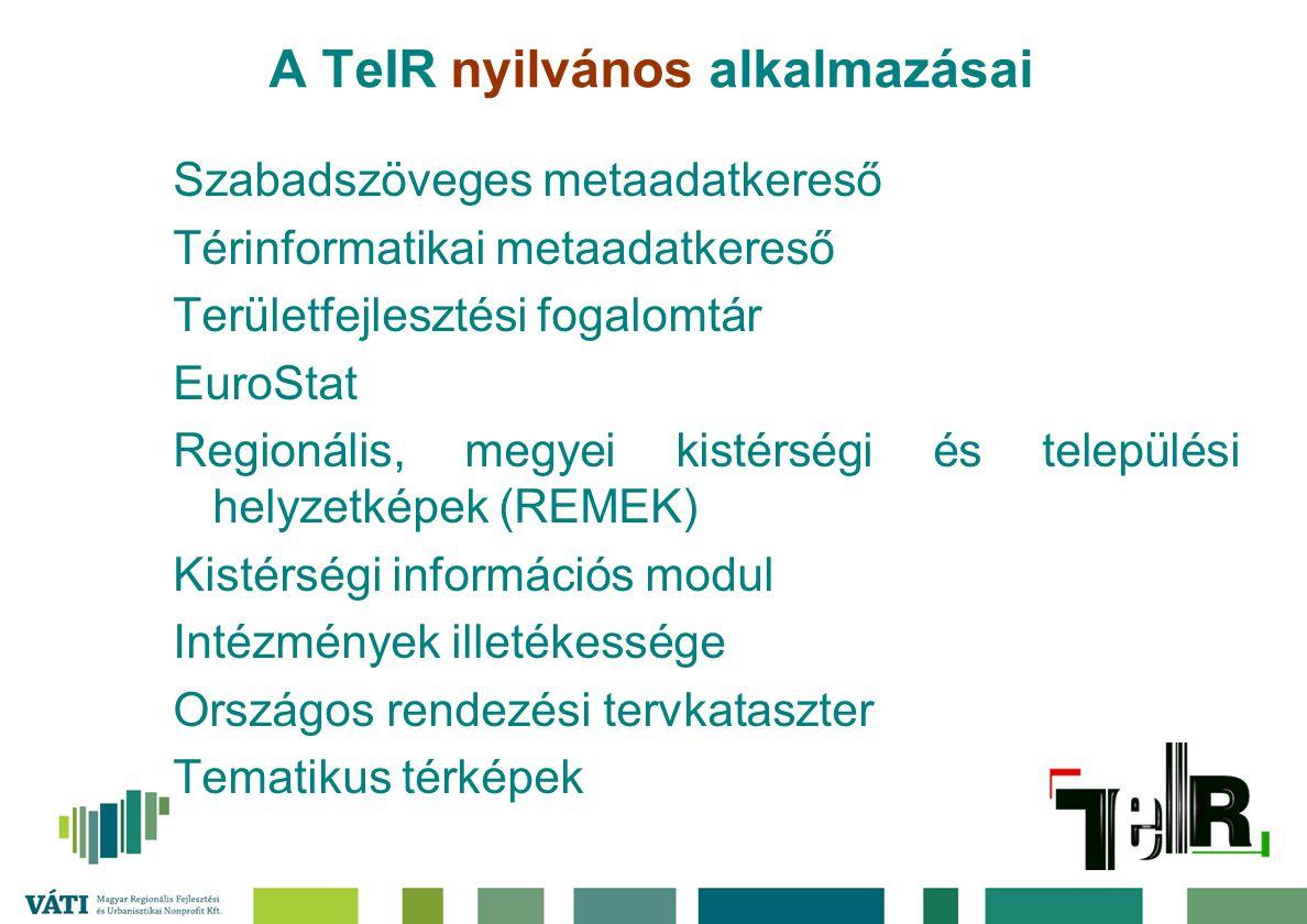 A TeIR nyilvános alkalmazásai