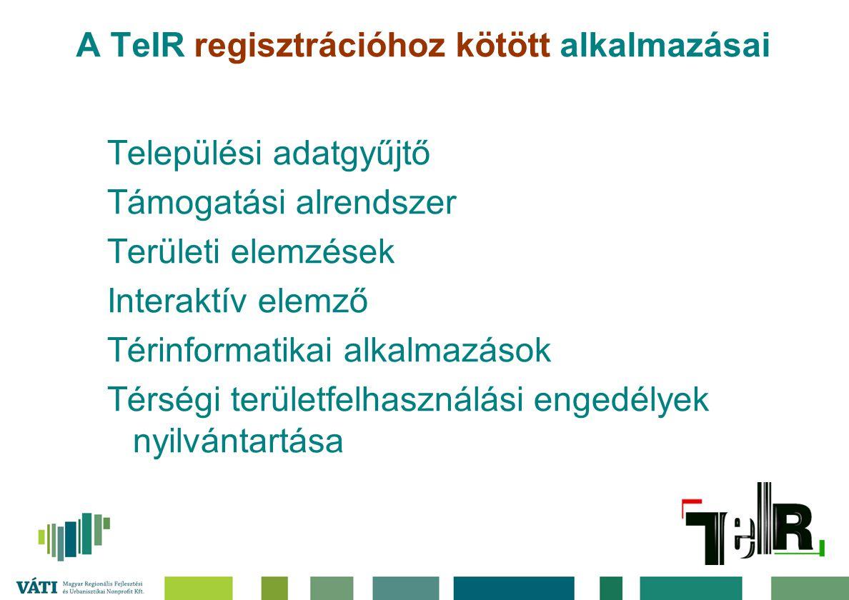 A TeIR regisztrációhoz kötött alkalmazásai