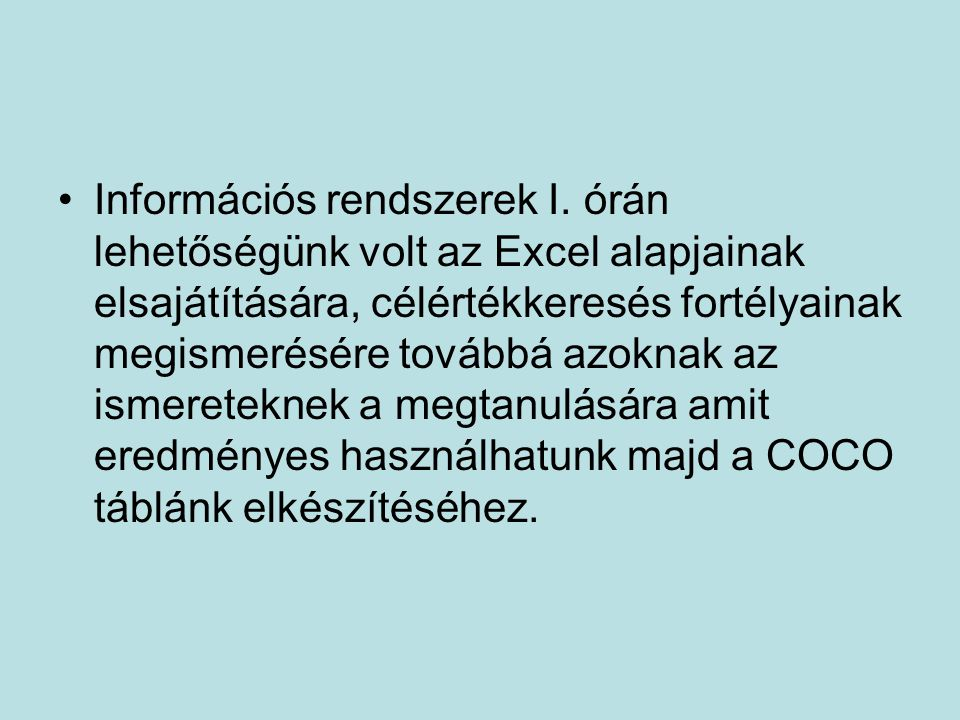 Információs rendszerek I