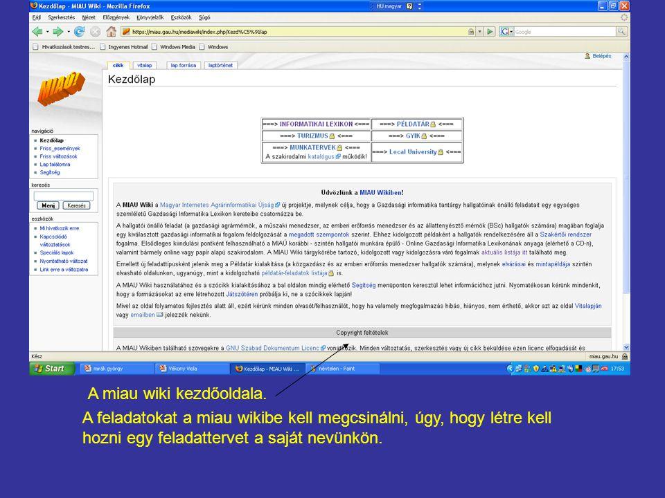 A feladatokat a miau wikibe kell megcsinálni, úgy, hogy létre kell hozni egy feladattervet a saját nevünkön.