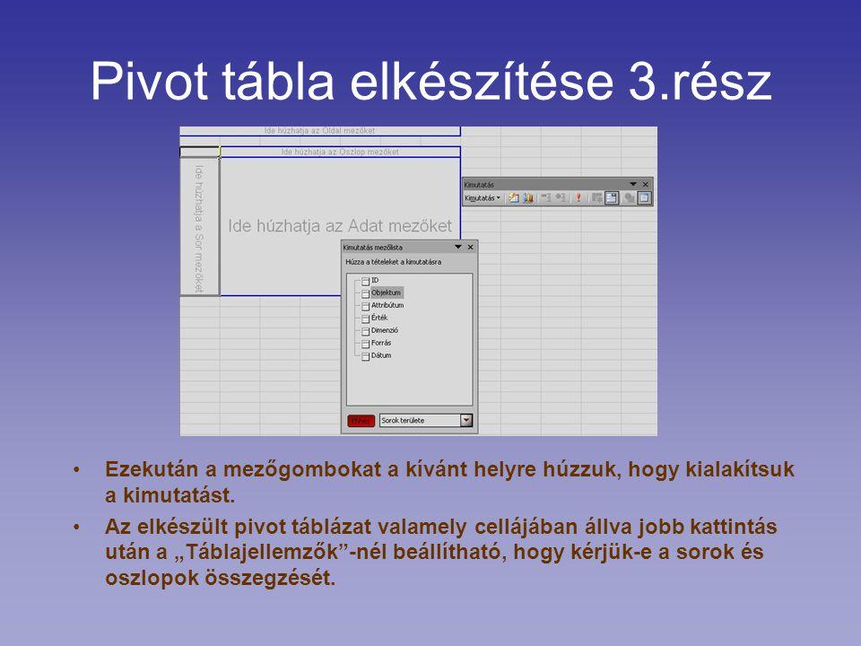 Pivot tábla elkészítése 3.rész