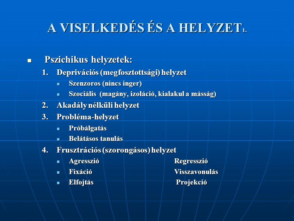 A VISELKEDÉS ÉS A HELYZET1.