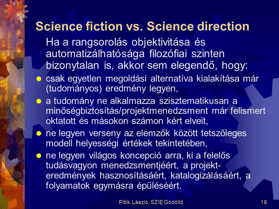 Science fiction vs. Science direction