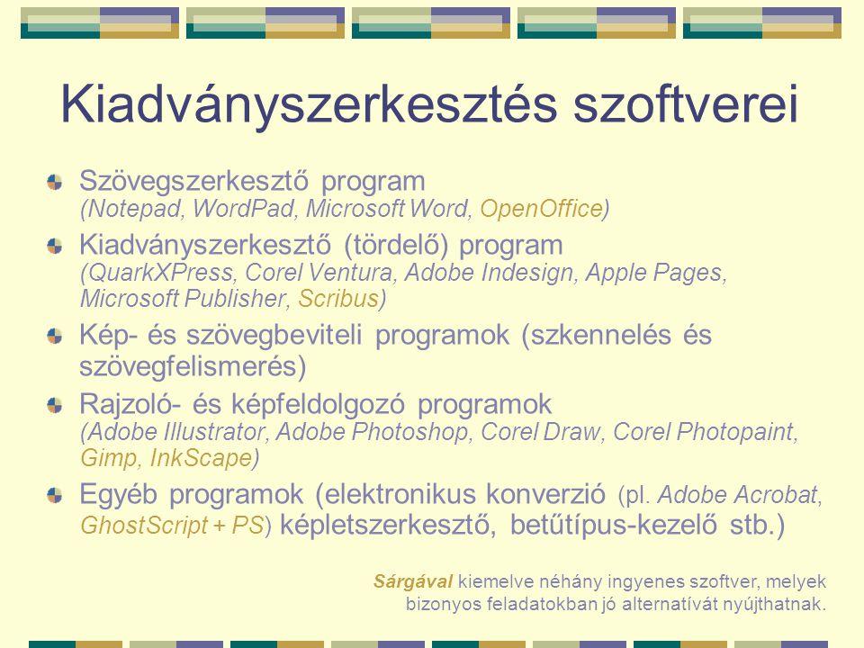 Kiadványszerkesztés szoftverei