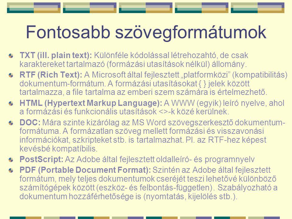 Fontosabb szövegformátumok