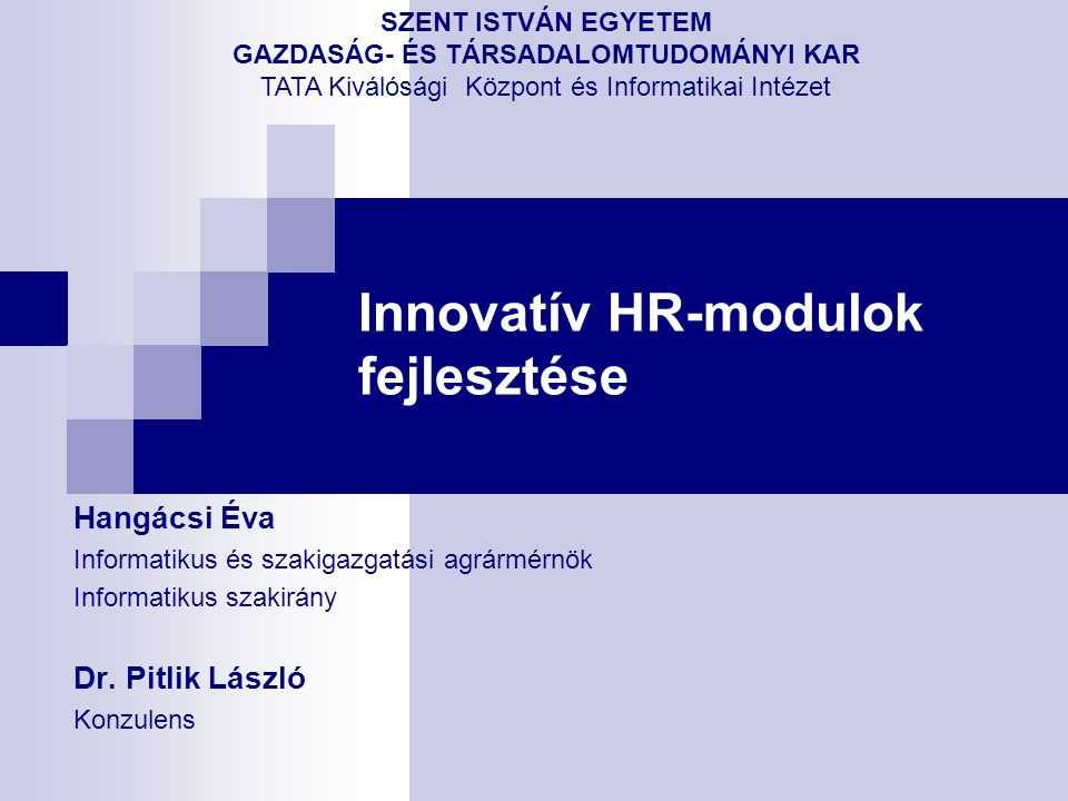 Innovatív HR-modulok fejlesztése