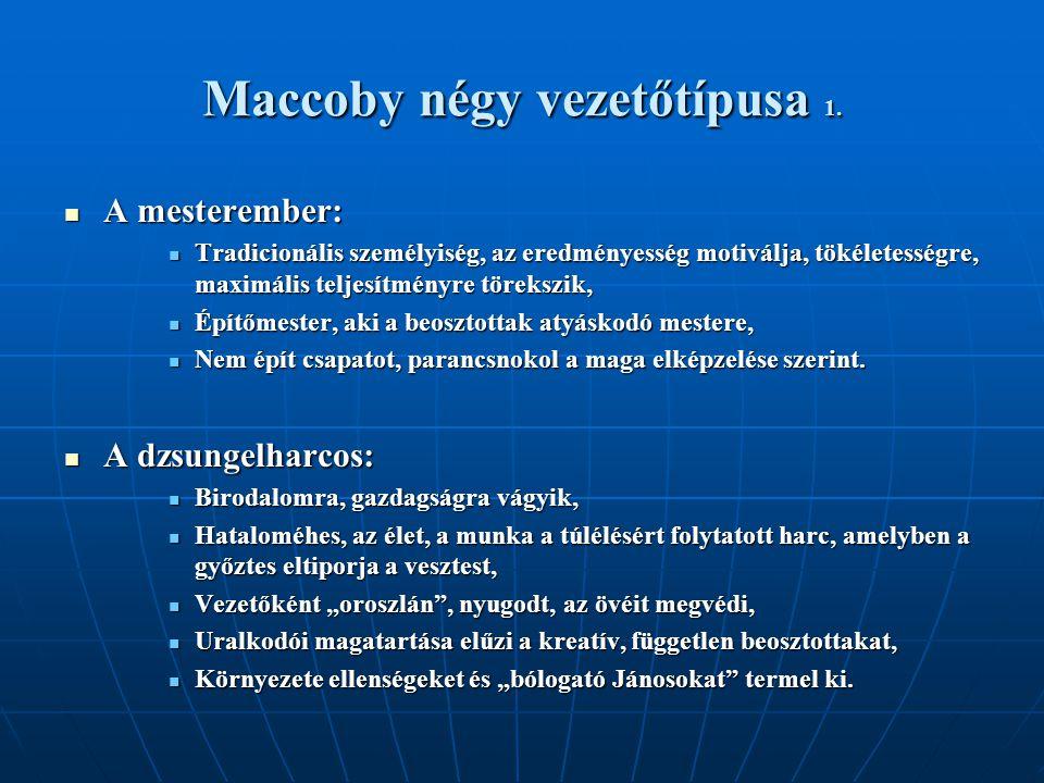 Maccoby négy vezetőtípusa 1.