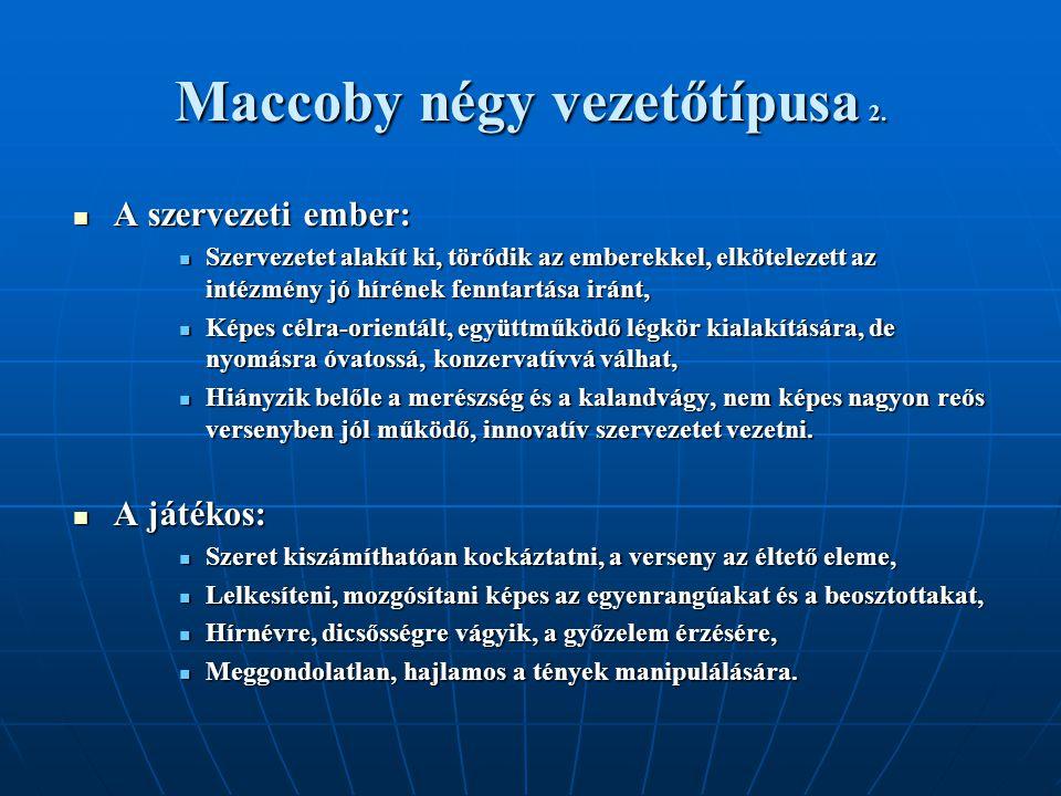 Maccoby négy vezetőtípusa 2.