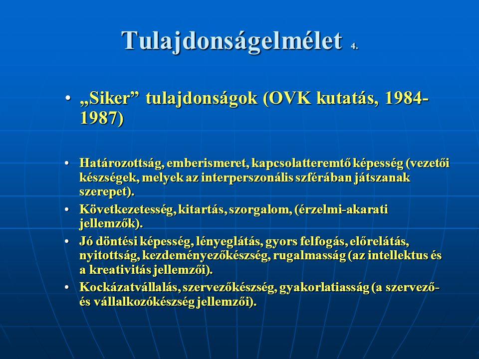 """Tulajdonságelmélet 4. """"Siker tulajdonságok (OVK kutatás, 1984-1987)"""