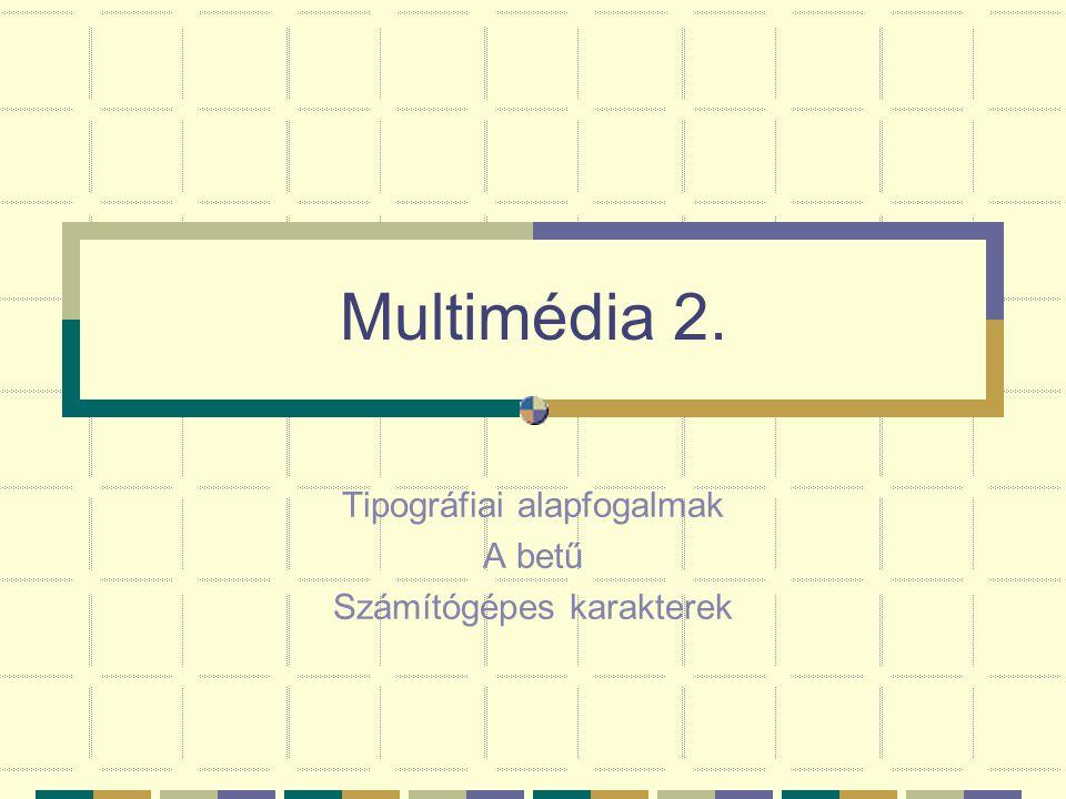 Tipográfiai alapfogalmak A betű Számítógépes karakterek