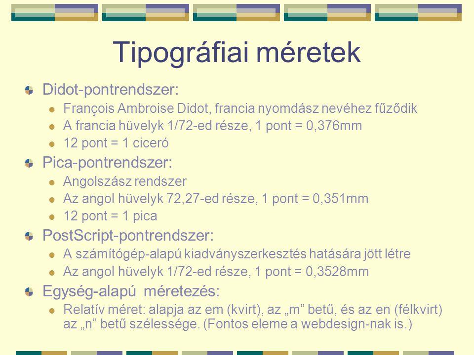 Tipográfiai méretek Didot-pontrendszer: Pica-pontrendszer: