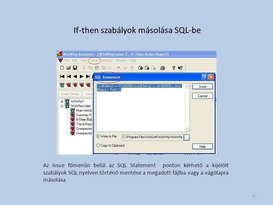 If-then szabályok másolása SQL-be