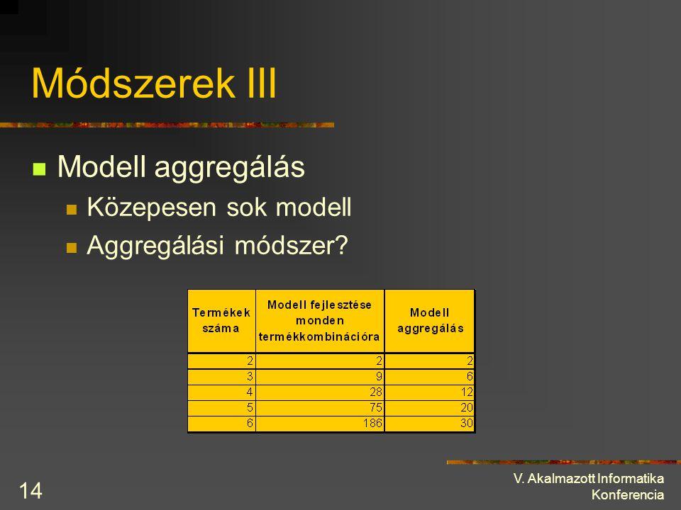 Módszerek III Modell aggregálás Közepesen sok modell