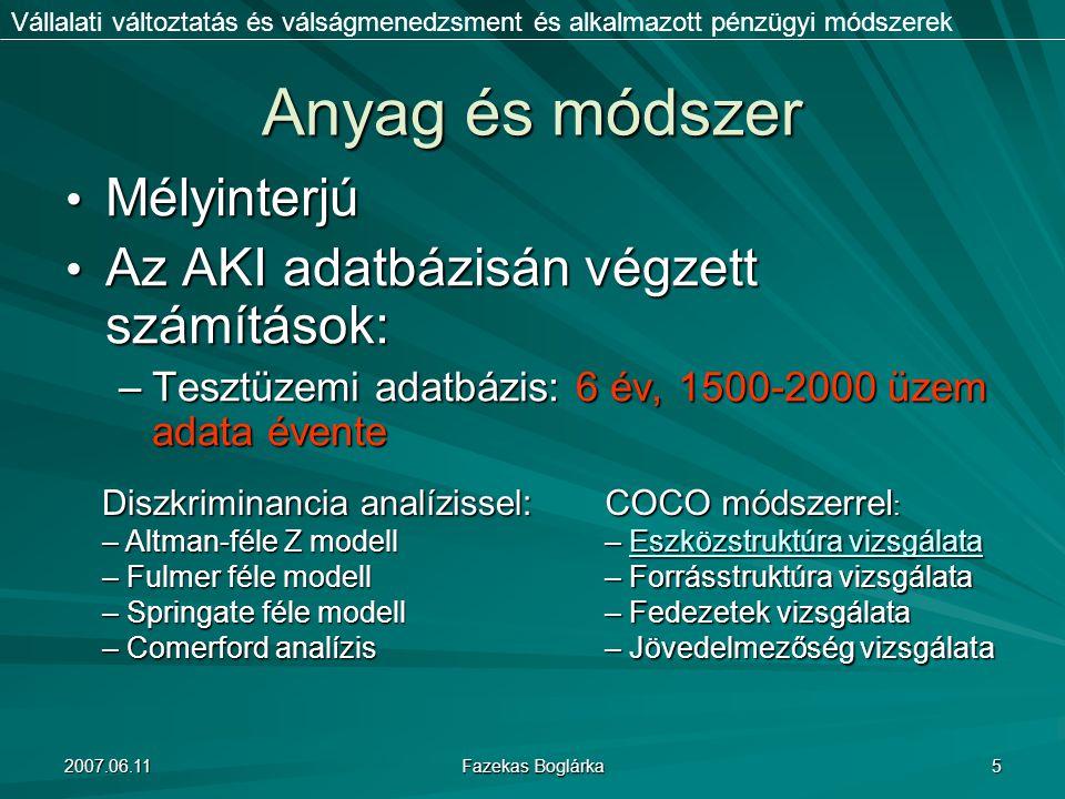 Anyag és módszer Mélyinterjú Az AKI adatbázisán végzett számítások: