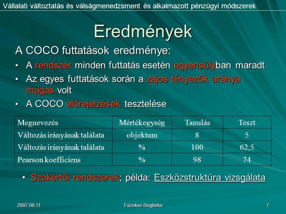 Eredmények A COCO futtatások eredménye: