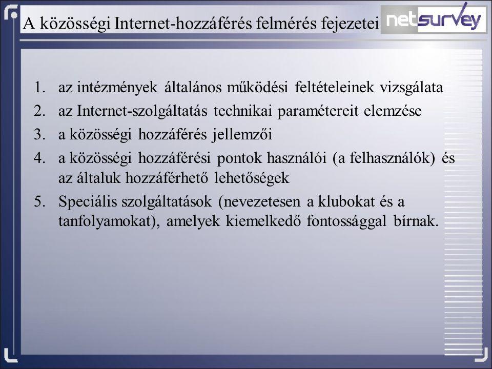 A közösségi Internet-hozzáférés felmérés fejezetei